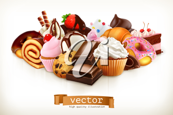 Confectionery. Chocolate, cakes, cupcakes, donuts. 3d vector illustration