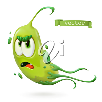 Virus, bacteria. Green funny monster, cartoon character. 3d vector icon