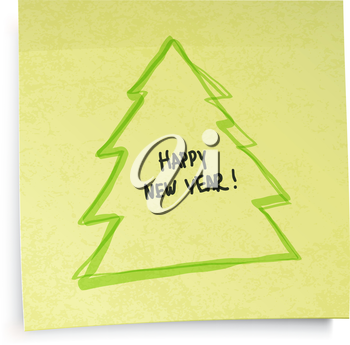 Yellow sticky notes with New Year tree. Vector illustration, EPS10.