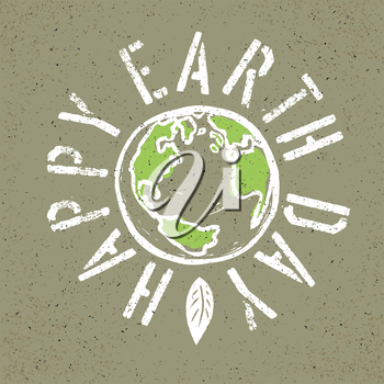 Happy Earth Day. Grunge lettering with Earth symbol