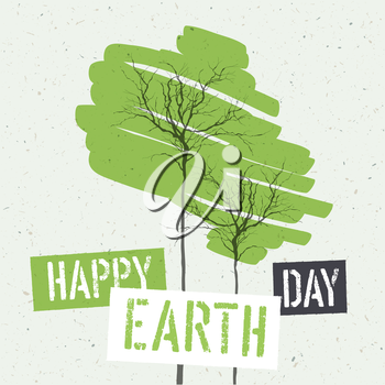 Typographic design for Earth Day. Concept Poster With Green Leaves. Vector Template. On recycled paper texture