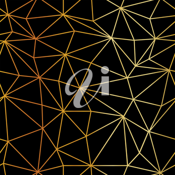 Golden triangle wireframe pattern. Seamless background
