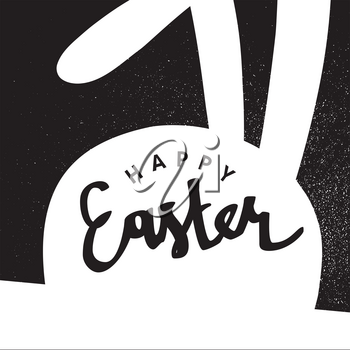 Happy Easter greeting card. Easter Bunny. Monochrome design