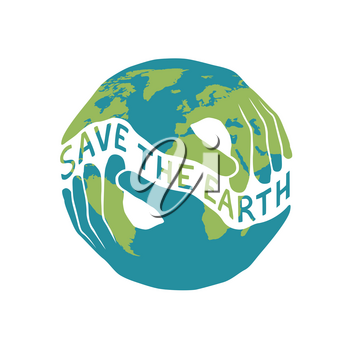 Save the Earth logotype for Earth day celebration. Two hands shaped hold the planet. Vector illustration isolated on white background.
