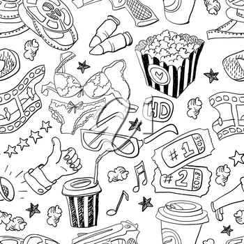 Seamless pattern with hand drawn cinema theme doodles, online cinema etc.