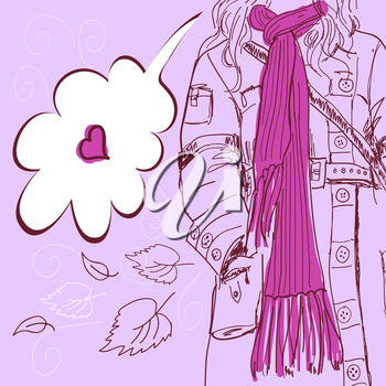 Girl with long scarf