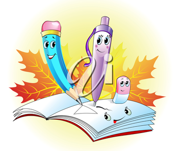 Cute pencil, pen, eraser and noteboock on autumn background
