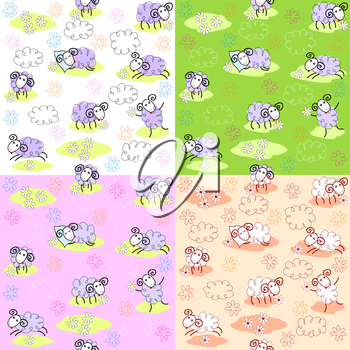 Set of four seamless patterns with cute sheeps