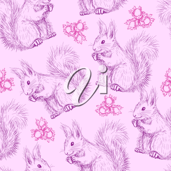Seamless pattern with Cute fluffy squirrels and nuts