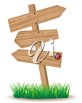Wooden signboard with an arrows on a green grass