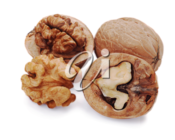 walnut and a cracked walnut isolated on the white background