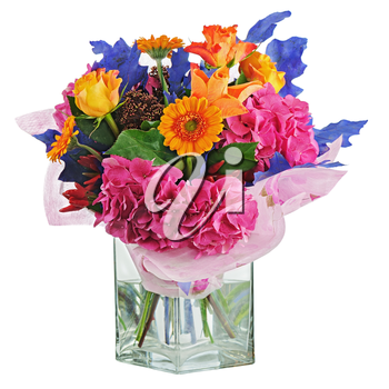 Colorful flower bouquet in vase isolated on white background. Closeup.