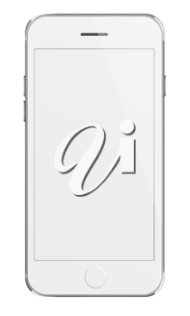Mobile smart phone with white screen isolated on white background. Highly detailed illustration.