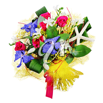 Floral bouquet of roses, lilies and orchids isolated on white background. Closeup.