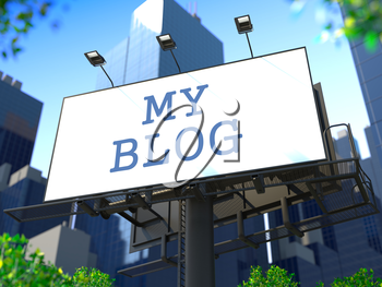 Social Media Concept. Billboard on the Background of a Modern Business Center. Business Concept for Your Blog or Publication.