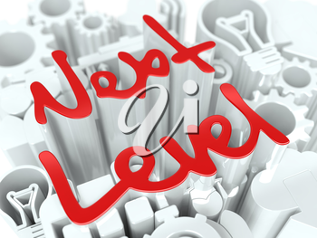 Next Level word on White Background. Graduating Concept for Your Blog or Publication.