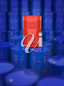 Oil and Petroleum. Red Oil Drum Standing on the Background of Blue Barrels.