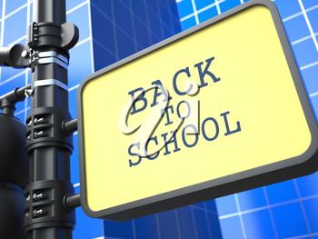 Education Concept. Back to School. Waymark on Blue Background.
