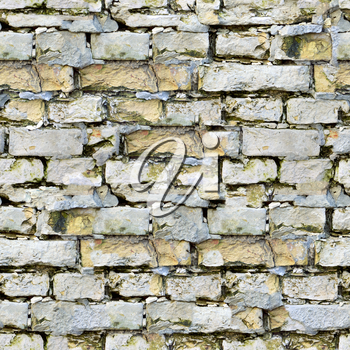 White Bricks with Cracks and Dirt Spots. Seamless Tileable Texture.