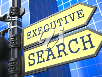 Executive Search Words on Yellow Roadsign on Blue Urban Background. Business Concept. 3D Render.
