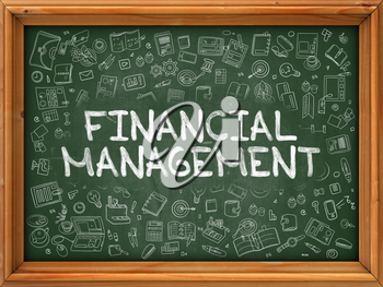 Green Chalkboard with Hand Drawn Financial Management with Doodle Icons Around. Line Style Illustration.