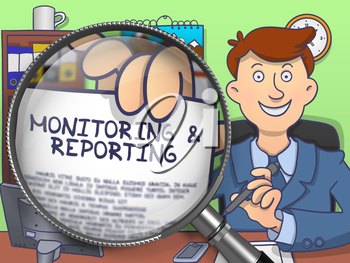 Monitoring & Reporting on Paper in Officeman's Hand through Magnifier to Illustrate a Business Concept. Colored Doodle Illustration.