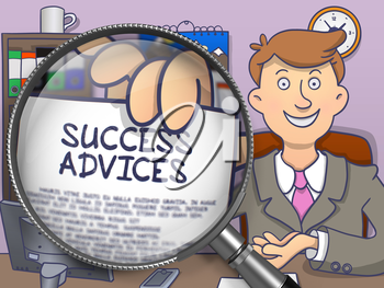 Success Advices. Handsome Officeman in Office Workplace Showing Paper with Text through Lens. Multicolor Doodle Illustration.
