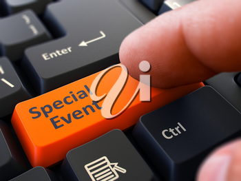 Computer User Presses Orange Button Special Event on Black Keyboard. Closeup View. Blurred Background. 3D Render.