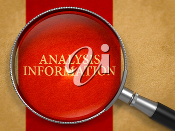 Analysis Information through Magnifying Glass on Old Paper with Crimson Vertical Line Background. 3D Render.
