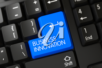 Black Keyboard with Hot Key for Business Innovation. PC Keyboard Key Labeled Business Innovation. Business Innovation Keypad on Computer Keyboard. 3D.