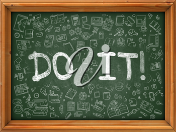 Do It Concept. Modern Line Style Illustration. Do It Handwritten on Green Chalkboard with Doodle Icons Around. Doodle Design Style of  Do It Concept.