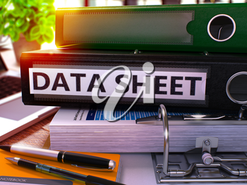 Data Sheet - Black Office Folder on Background of Working Table with Stationery and Laptop. Data Sheet Business Concept on Blurred Background. Data Sheet Toned Image. 3D.