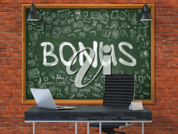 Green Chalkboard on the Red Brick Wall in the Interior of a Modern Office with Hand Drawn Bonus. Business Concept with Doodle Style Elements. 3D