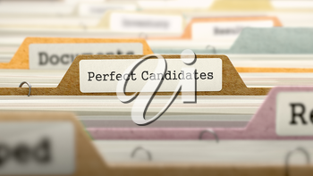 Perfect Candidates - Folder Register Name in Directory. Colored, Blurred Image. Closeup View. 3D Render.