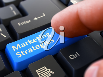 Marketing Strategies Button. Male Finger Clicks on Blue Button on Black Keyboard. Closeup View. Blurred Background. 3D Render.