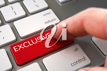 Selective Focus on the Exclusive Button. Exclusive Concept - Modern Keyboard with Keypad. Business Concept - Male Finger Pointing Exclusive Keypad on Modern Keyboard. 3D Illustration.