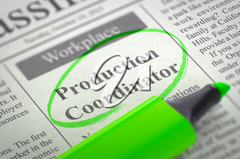 Newspaper with Job Vacancy Production Coordinator. Blurred Image. Selective focus. Job Search Concept. 3D Rendering.