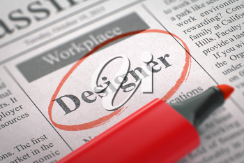 A Newspaper Column in the Classifieds with the Jobs Section Vacancy of Designer, Circled with a Red Highlighter. Blurred Image with Selective focus. Job Seeking Concept. 3D Render.