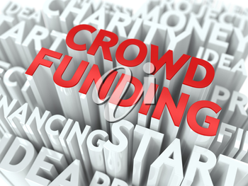 Crowd Funding - Word in Red Color, Surrounded by a Cloud of Words Gray. Wordcloud Concept.