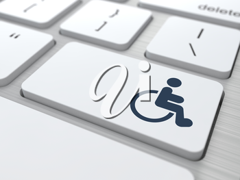 Disabled Icon on Button of White Modern Computer Keyboard.
