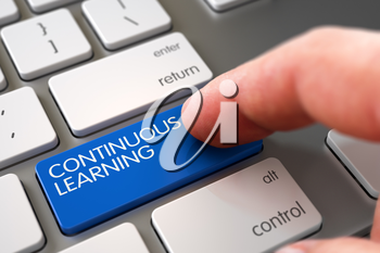 Continuous Learning Concept - White Keyboard with Blue Keypad. 3D Illustration.