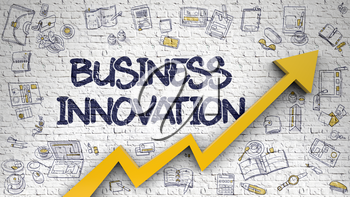 Business Innovation - Modern Illustration with Hand Drawn Elements. Business Innovation - Development Concept with Hand Drawn Icons Around on Brick Wall Background.