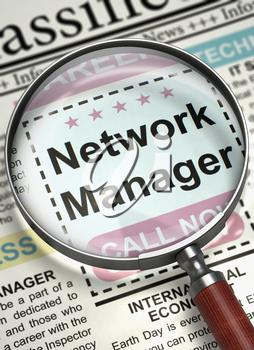 Network Manager - Classified Advertisement of Hiring in Newspaper. Column in the Newspaper with the Job Vacancy of Network Manager. Job Seeking Concept. Blurred Image with Selective focus. 3D.