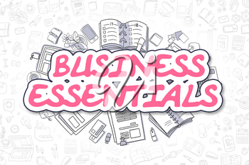 Magenta Word - Business Essentials. Business Concept with Cartoon Icons. Business Essentials - Hand Drawn Illustration for Web Banners and Printed Materials.