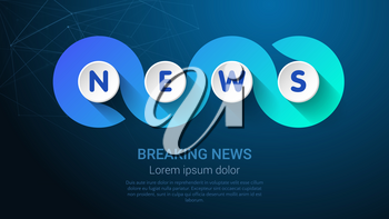 NEWS - Business Concept with Big Word or Text. Blue Trendy Tamplate for Web Banner or Landig Page. Vector Illustration.