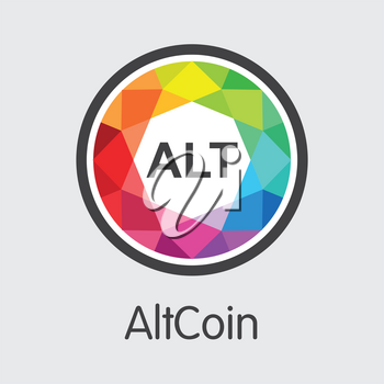 Altcoin - Blockchain Cryptocurrency Element. Vector Symbol of Digital Currency Icon on Grey Background. Vector Graphic Symbol ACC.