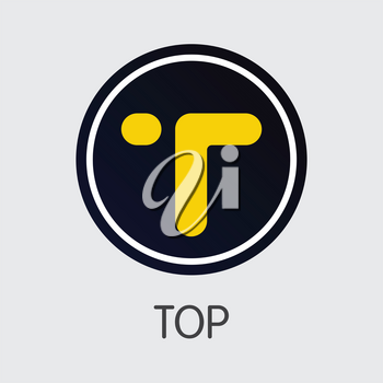TOP - Top. The Market Logo or Emblem of Crypto Coins, Market Emblem, ICOs Coins and Tokens Icon.