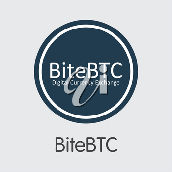 Exchange - Bitebtc. The Crypto Coins or Cryptocurrency Logo. Market Emblem, Coins ICOs and Tokens Icon.