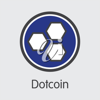 Dotcoin - Digital Currency Concept. Colored Vector Icon Logo and Name of Cryptocurrency on Grey Background. Vector Icon for Exchange DOT.