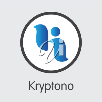 Exchange - Kryptono. The Crypto Coins or Cryptocurrency Logo. Market Emblem, Coins ICOs and Tokens Icon.